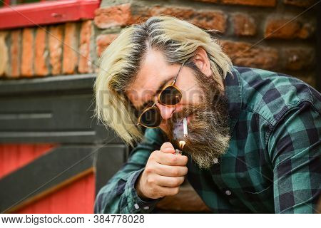 Try To Quit Smoking. Hipster Lifestyle. Man Smoking A Cigarette. Business Man In Glasses Smoking Cig