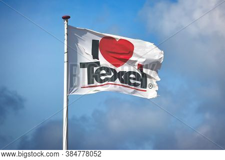 Texel, Netherlands - August 2019: White Flag With The Words 'i Love Texel' With Red Heart Instead Of
