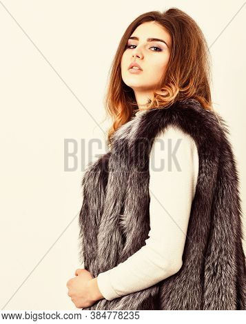 Fashion Trend Concept. Winter Fashionable Wardrobe For Female. Silver Fur Vest Fashion Clothing. Bou