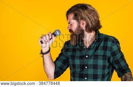 Brutal Stylish Singer. Singing In Karaoke. Mature Hipster With Beard Sing Song. Brutal Caucasian Guy