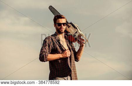 Gardener Lumberjack Equipment. Get Stylish Haircut. Barbershop Concept. Dangerous Job. Powerful Chai