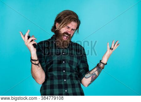 He Is So Cool. Mature Hipster With Beard Sing Song. Brutal Caucasian Guy With Microphone. Bearded Ma