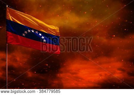 Fluttering Venezuela Flag Mockup With Blank Space For Your Data On Crimson Red Sky With Smoke Pillar