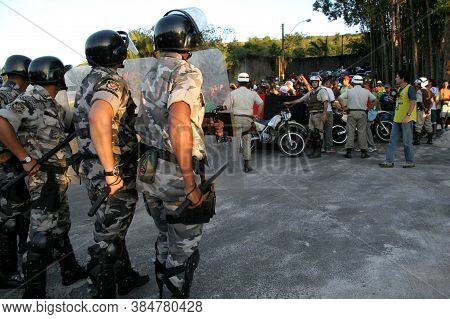 Salvador, Bahia / Brazil - August 19, 2006: Police From The Batalha De Choque Are Seen During The Co