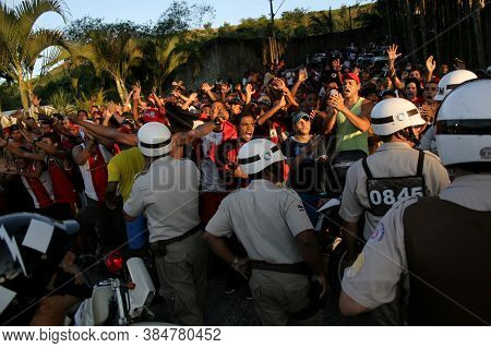 Salvador, Bahia / Brazil - August 19, 2006: Military Police Are Seen During The Control Of Supporter