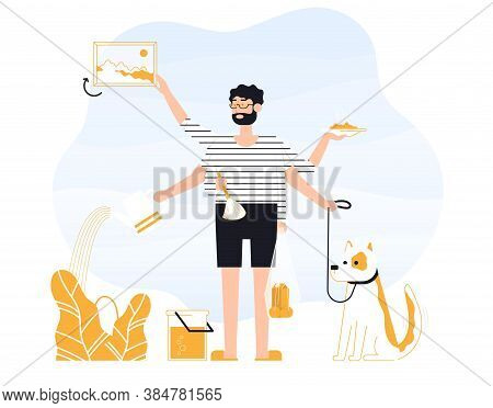 Man Freelancer Does Several Things At Once Time. He Is Holding Bag And Plate With Food, Walks The Do