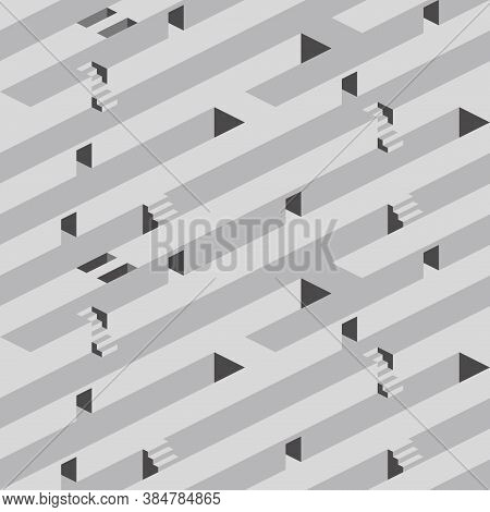 Seamless Pattern With Stairs And Doorways Making An Optical Illusion. Geometry Texture Repeat Backgr
