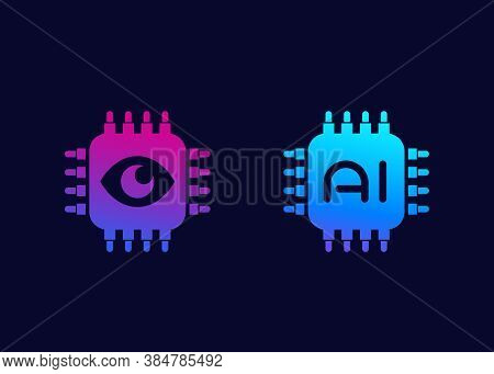 Machine Vision And Ai Chipset Icons, Eps 10 File, Easy To Edit