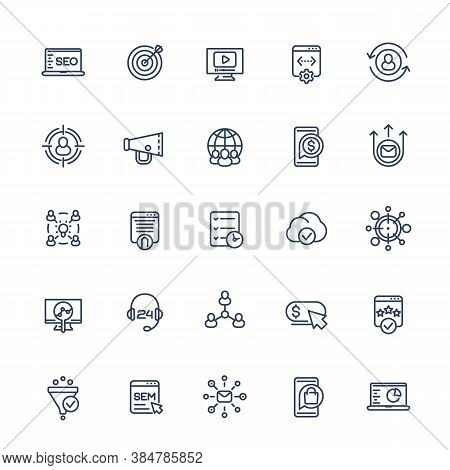 Seo And Digital Marketing Line Icons Set, Eps 10 File, Easy To Edit