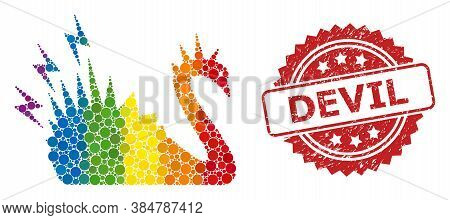 Black Danger Swan Mosaic Icon Of Spheric Dots In Various Sizes And Lgbt Multicolored Color Tinges, A