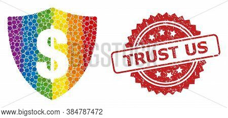 Dollar Shield Collage Icon Of Filled Circle Elements In Various Sizes And Lgbt Colored Color Tints,