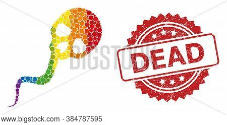 Dead Sperm Mosaic Icon Of Spheric Dots In Variable Sizes And Lgbt Colorful Color Hues, And Dead Scra
