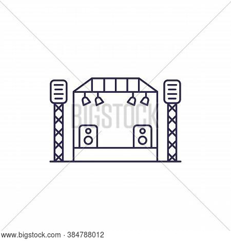 Concert Stage Line Vector Icon, Eps 10 File, Easy To Edit