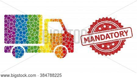 Delivery Car Collage Icon Of Spheric Dots In Various Sizes And Spectrum Color Tinges, And Mandatory