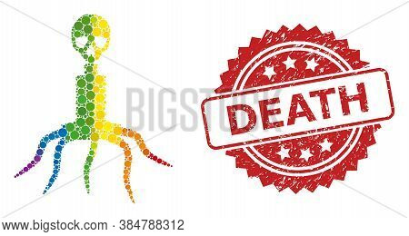 Death Virus Mosaic Icon Of Spheric Dots In Various Sizes And Spectrum Colored Color Tones, And Death