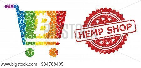 Bitcoin Webshop Collage Icon Of Round Spots In Different Sizes And Lgbt Colored Color Tints, And Hem