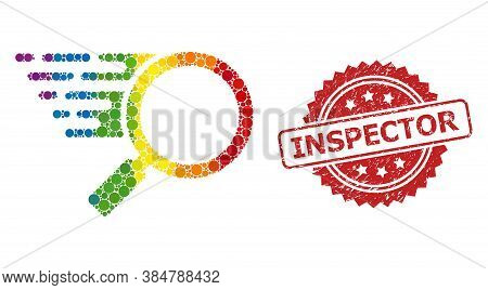 Search Tool Collage Icon Of Circle Spots In Various Sizes And Rainbow Color Tints, And Inspector Scr
