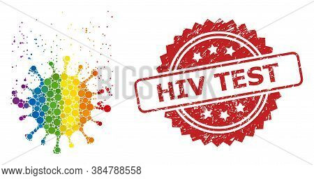 Virus Dissipation Collage Icon Of Spheric Dots In Variable Sizes And Lgbt Multicolored Shades, And H