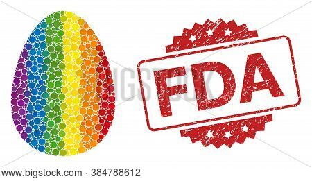 Egg Collage Icon Of Spheric Dots In Variable Sizes And Lgbt Color Shades, And Fda Corroded Rosette S