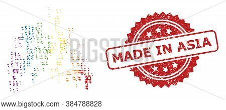 Sand Swarm Collage Icon Of Round Spots In Various Sizes And Lgbt Colored Shades, And Made In Asia Te