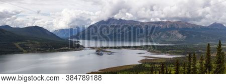 Beautiful Panoramic View Of A Small Touristic Town, Carcross, Surounded By Canadian Mountain Landsca