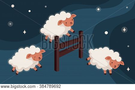 Sheep Jump Over The Fence. Insomnia, Counting Of Lambs To Fall Asleep. Sweet Dreams. Starry Sky. Fla