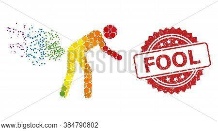 Farting Person Collage Icon Of Round Blots In Various Sizes And Rainbow Color Tones, And Fool Dirty