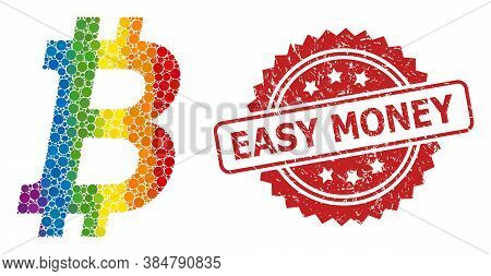 Bitcoin Collage Icon Of Filled Circle Spots In Different Sizes And Lgbt Colored Color Tones, And Eas