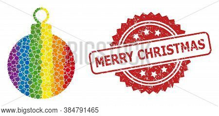 Christmas Ball Mosaic Icon Of Round Blots In Various Sizes And Lgbt Color Tones, And Merry Christmas