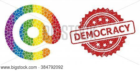 Email Symbol Collage Icon Of Circle Dots In Variable Sizes And Rainbow Color Shades, And Democracy R