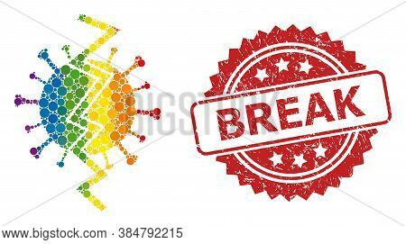 Virus Break Mosaic Icon Of Round Items In Different Sizes And Lgbt Color Hues, And Break Dirty Roset