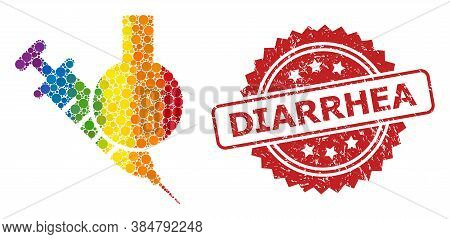Chemical Vaccine Collage Icon Of Circle Dots In Different Sizes And Lgbt Multicolored Color Tints, A
