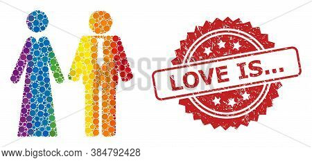 Newlyweds Collage Icon Of Circle Dots In Variable Sizes And Lgbt Colored Color Tones, And Love Is...