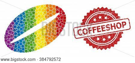 Coffee Bean Mosaic Icon Of Round Items In Variable Sizes And Lgbt Colored Color Tints, And Coffeesho
