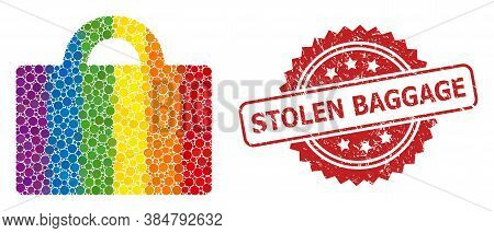 Baggage Collage Icon Of Circle Items In Variable Sizes And Lgbt Colored Color Hues, And Stolen Bagga