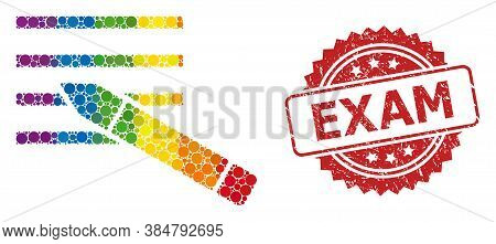 Edit Text Collage Icon Of Round Dots In Different Sizes And Rainbow Color Tints, And Exam Textured R