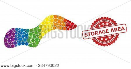Spot Collage Icon Of Filled Circle Blots In Various Sizes And Lgbt Colored Color Tints, And Storage