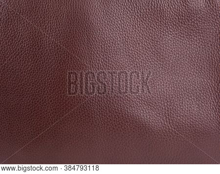 Genuine Brown Cattle Leather Texture Background. Macro Photo