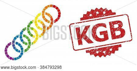 Circle Chain Collage Icon Of Round Items In Various Sizes And Rainbow Colored Color Tones, And Kgb C