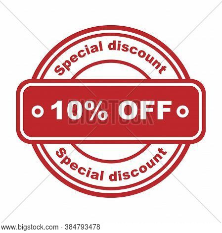 Special Discount 10 Percent Off Stamp. Red Rubber Stamp On White Background. Vector Illustration. Sa