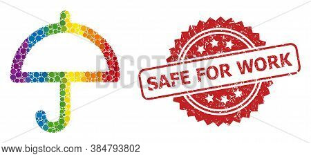 Umbrella Collage Icon Of Filled Circle Items In Various Sizes And Rainbow Colored Color Tones, And S