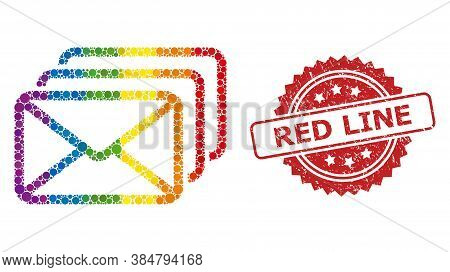 Mail Queue Collage Icon Of Spheric Elements In Different Sizes And Lgbt Colored Shades, And Red Line