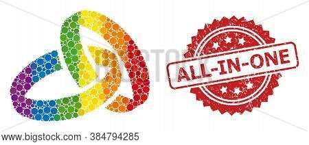 Wedding Rings Collage Icon Of Round Spots In Different Sizes And Lgbt Colored Color Tones, And All-i