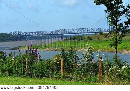 Harahan Bridge Seen From River Park In Memphis