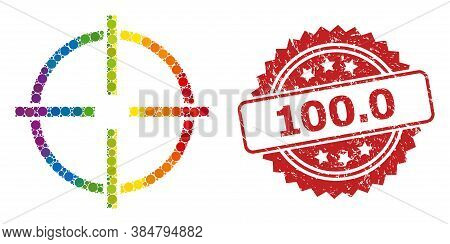 Target Collage Icon Of Spheric Items In Various Sizes And Rainbow Colored Color Hues, And 100.0 Scra