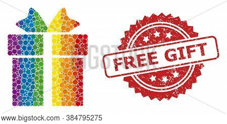 Gift Collage Icon Of Round Dots In Different Sizes And Rainbow Colorful Color Tinges, And Free Gift