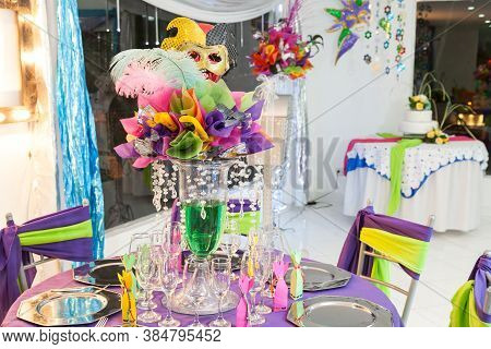 Thematic Decoration For Celebration And Parties; Reception Room With Colorful Decorations And Masks.
