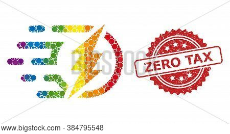 Electrical Power Mosaic Icon Of Filled Circle Spots In Different Sizes And Lgbt Colored Color Tinges