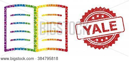 Open Book Collage Icon Of Circle Blots In Different Sizes And Rainbow Colored Color Tinges, And Yale