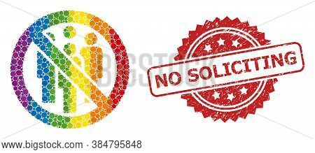 Forbidden Crowd Mosaic Icon Of Round Spots In Various Sizes And Lgbt Color Tinges, And No Soliciting